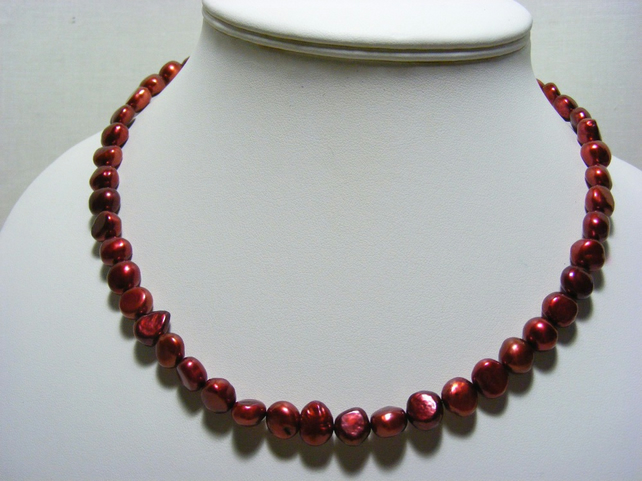 Cherry Freshwater Cultured Pearl Necklace