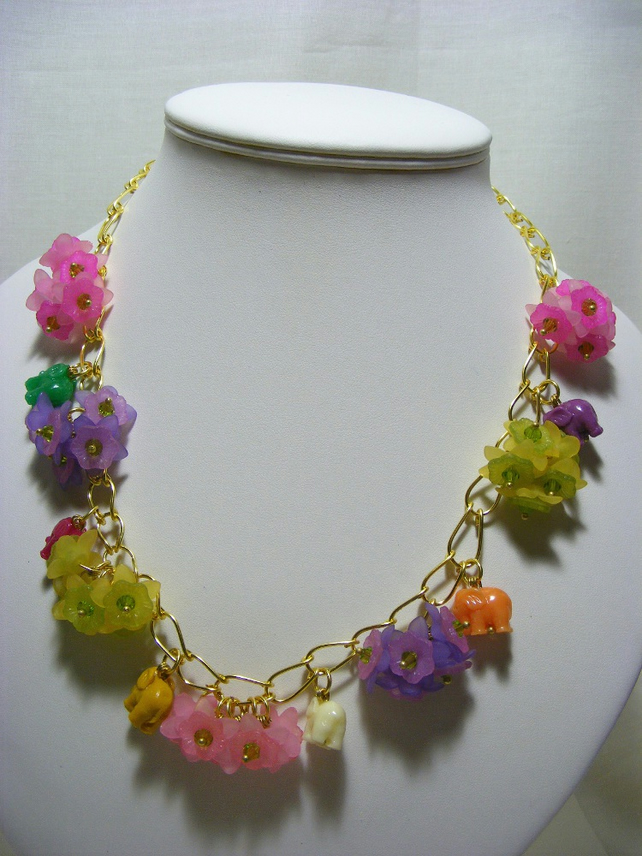 Flowers and Elephant Necklace.
