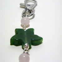 Green Agate and Rose Quartz Bag Charm.