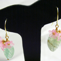 Green Leaves with Pink Flower Earrings.