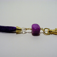 Purple Agate with Tassel Bag Charm.