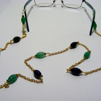 Green Agate and Black Onyx Spectacle Chain.