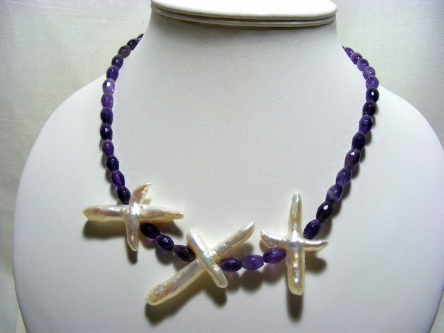 Amethyst and Freshwater Pearl Crosses Gemstone Necklace.