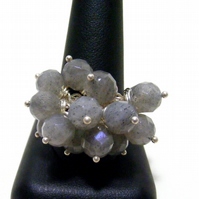 Labradorite Gemstone Adjustable Ring.