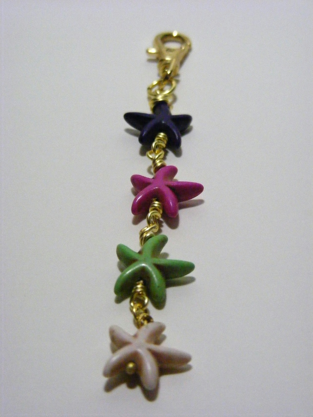 Multi Colour Magnesite Starfish Bag Charm