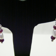 Freshwater Pearl and Ruby Gemstone Sterling Silver Earrings.