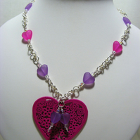 Cerise and Purple Heart Necklace