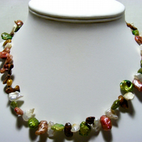 Multi Colour Freshwater Keshi Pearl Necklace