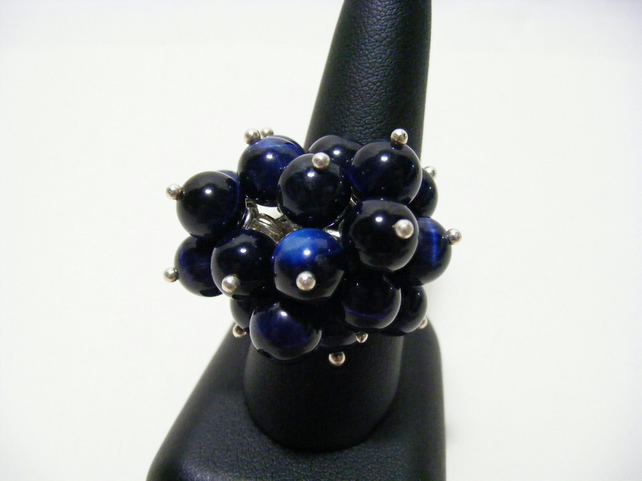 Blue Tigers Eye Adjustable Gemstone Ring