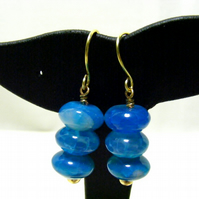 Blue Crackled Agate Gemstone Earrings