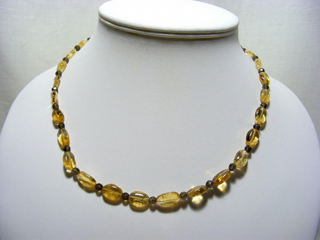 Citrine and Smokey Quartz Gemstone Jewellery Set