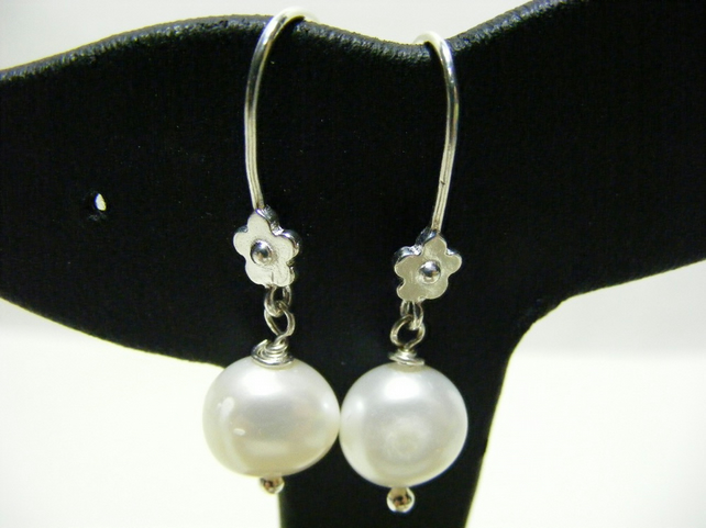 Freshwater Button Pearl and Sterling Silver Earrings.