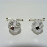 Clear Quartz Rose Carved Gemstone Cuff Links