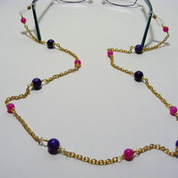 Purple Magnesite and Fuchsia Jade Spectacle Chain.