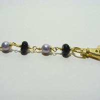 Black Agate Gemstones and Shell Pearl Bag Charm