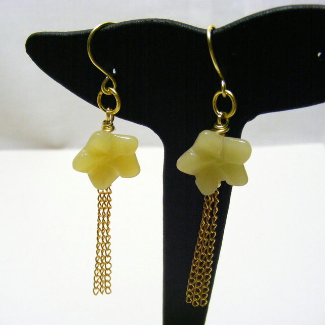 Serpentine Gemstone Flower Earrings