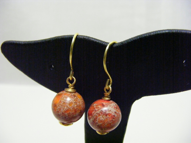 Orange Impression Jasper Gemstone Earrings.
