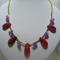 Rhodochrosite and Flower Jewellery Set.