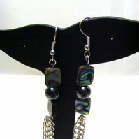 Abalone and Hematite Earrings