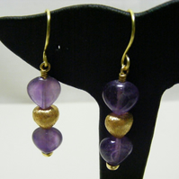 Amethyst Gemstone Heart Earrings