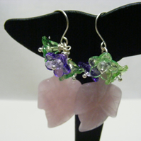 Rose Quartz Gemstone Leaves and Lucite Flower Earrings
