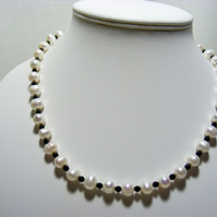 White Freshwater  Pearl and Black Agate Necklace with 925 Sterling Silver.