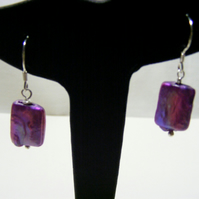 Freshwater Cultured Purple Pearl and 925 Sterling Silver Earrings.
