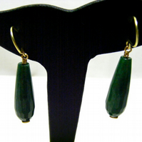 Dark Green Quartzite Drop Earrings