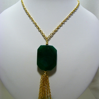 Green Jade and Green Agate Pendant Necklace