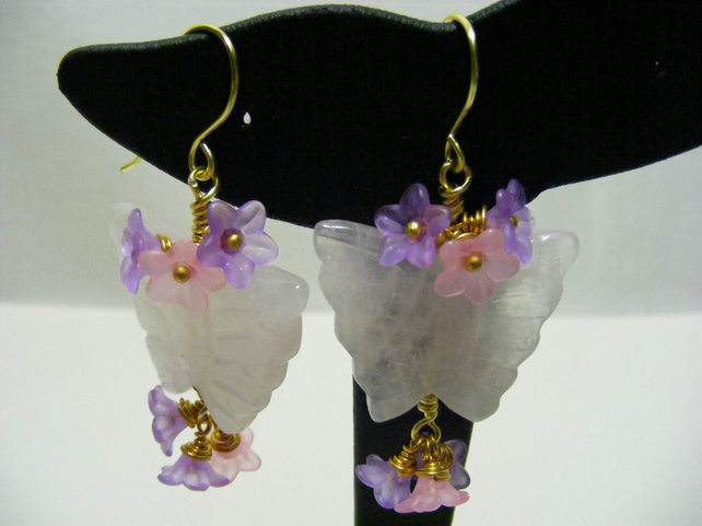 Rose Quartz Butterfly and Flower Earrings.