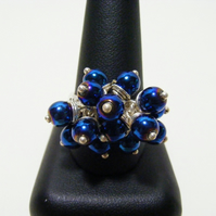 Metallic Blue Colour Coated Hematite Adjustable Ring