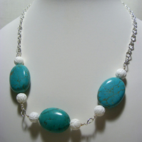 Magnesite and Carved Shell Necklace