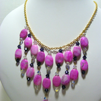 Fuchsia Crazy Lace Agate Necklace