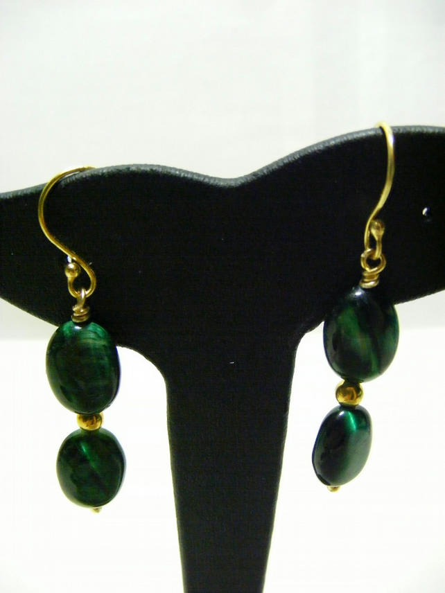 Green Tigers Eye Gemstone Earrings