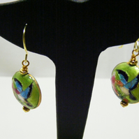 Lime Green and Gold Cloisonne Earrings
