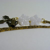 White Quartzite and Garden Tools Charms Bookmark