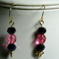 Black and Pink Crystal Earrings