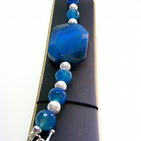 White Shell Pearl and Blue Agate Bracelet