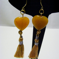 Yellow Quartzite Heart Tassel Earrings