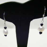 White Freshwater Cultured Pearl and Black Spinel Sterling Silver Earrings