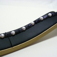 Iolite Gemstone and Shell Pearl Bracelet