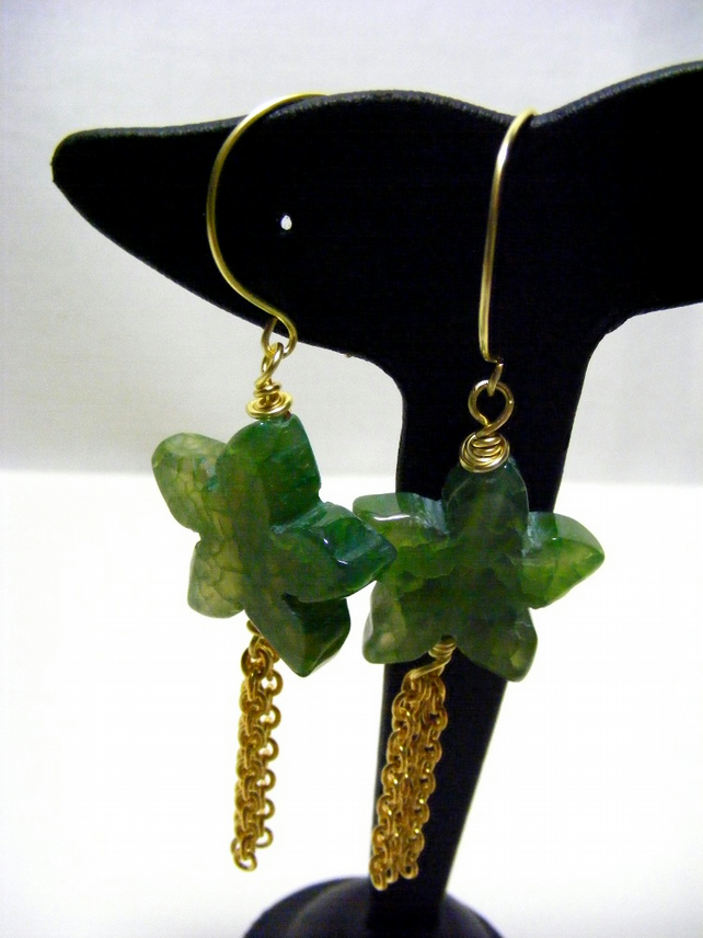 Green Agate Flower Earrings