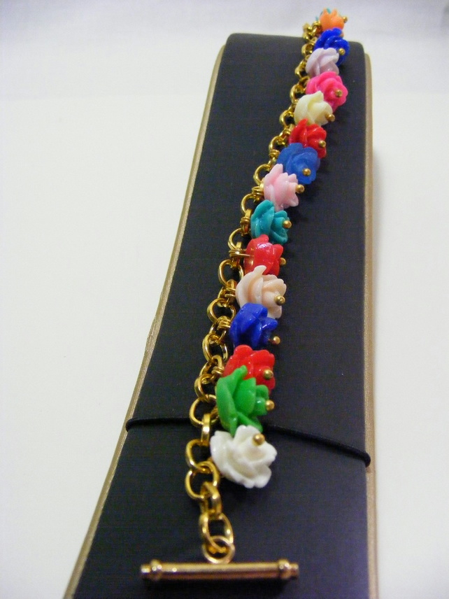 Multi Colour Small Rose Charm Bracelet