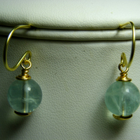 Pale Green Fluorite Earrings