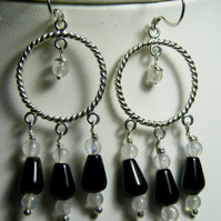 Onyx and Moonstone Sterling Silver Earrings