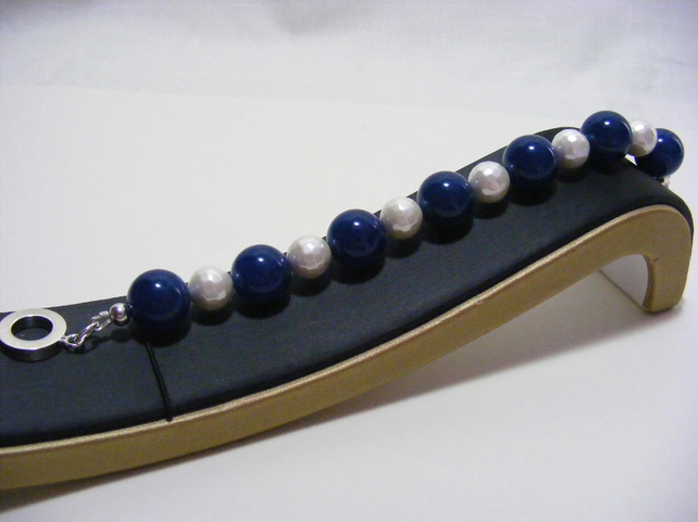 Blue Quartz and White Shell Pearl Bracelet
