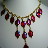 Red Glass Charm Necklace