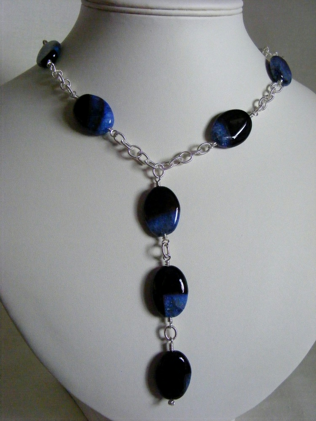 Black Agate with Blue Quartz Necklace
