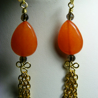 Orange Quartzite Drop Earrings