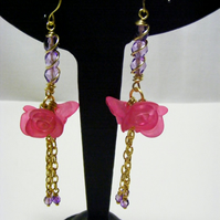 Pink Rose Tassel Earrings